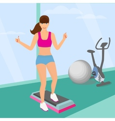 Beautiful woman doing aerobic workout in gym vector