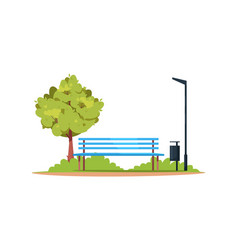 bench in a park semi flat rgb color vector image