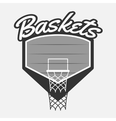 Black and white Basketball Label with Basket vector image