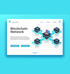 Blockchain landing page isometric cryptocurrency vector