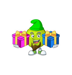 Bring two gifts granny smith apple character vector