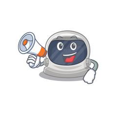 Cartoon astronaut helmet having a megaphone vector