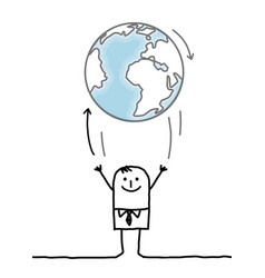 Cartoon businessman throwing up the earth vector