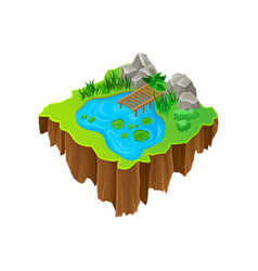 cartoon design of isometric island lake vector image