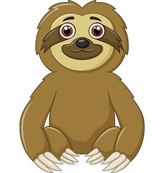 Cartoon funny sloth animal sitting vector