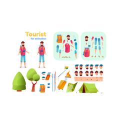 cartoon hiker trekker tourist animation set vector image