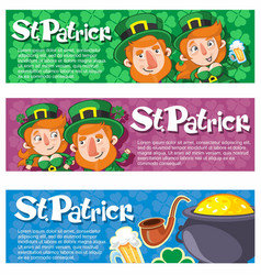 cartoon saint patrick day horizontal banners vector image