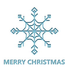 christmas card with snowflake cut from paper vector image