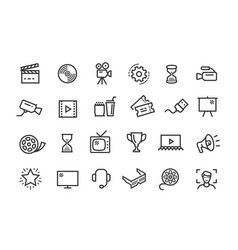cinema movie line icons set collection vector image