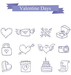 Collection valentine day icons vector