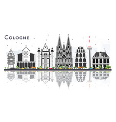 Cologne germany city skyline with gray buildings vector