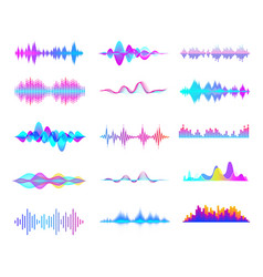 Colorful sound waves audio signal wave color vector