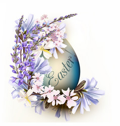 cute blue easter egg with flowers vector image
