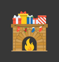 decorated fireplace and present boxes with socks vector image