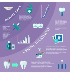Dental Flat Color Infographic vector