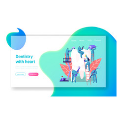 Dentist character care of big white tooth page vector