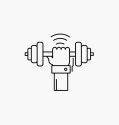 Dumbbell gain lifting power sport line icon vector