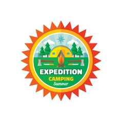 Expedition camping summer - badge vector image