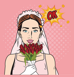 fashion bride pop art cartoon vector image