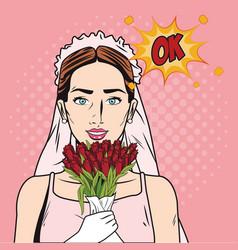 Fashion bride pop art cartoon vector