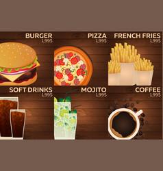 fast food restaurant menu on wood background vector image