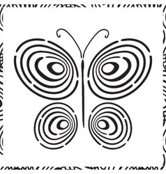 Fingerprint hand drawn butterfly vector image