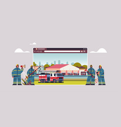 firefighters in uniform near fire station vector image