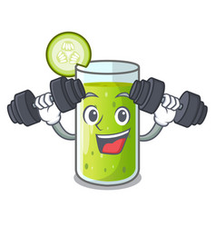 Fitness character fresh juice of green cucumber vector