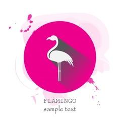 Flamingo Icon with long shadow vector