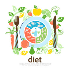 Flat diet template vector