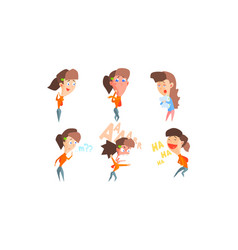 girl showing different emotions set girl vector image