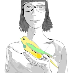 Girl with a bird vector