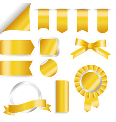 golden ribbons flag and labels set isolated on vector image