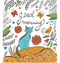 Good morning concept card with cute cat vector