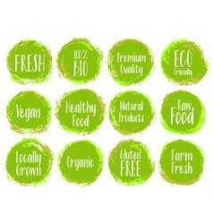 Green organic labels bio emblems vector
