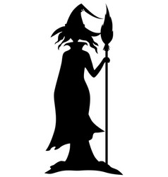 halloween witch with broom vector image