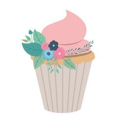 Hand drawing color cupcake with pink buttercream vector