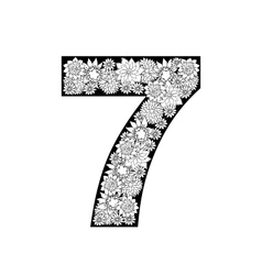 Hand drawn floral alphabet design Digit 7 vector