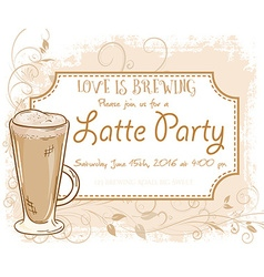hand drawn latte party invitation card vintage vector image