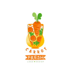 Hand drawn logo for organic carrot juice vector