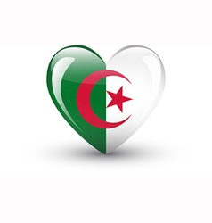 Heart-shaped icon with national flag of Algeria vector