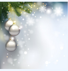 holiday background with fir tree branches and vector image