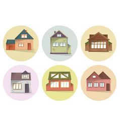 house icons set different type of houses vector image