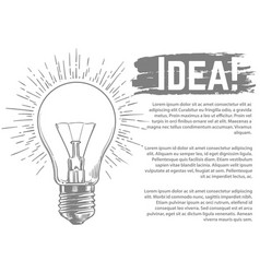 idea banner design sketched light bulb vector image