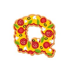 Letter q pizza font italian meal alphabet vector