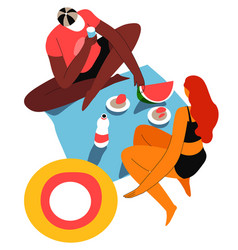 man and woman on picnic with watermelon vector image