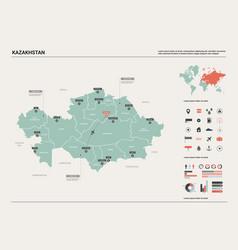 Map kazakhstan high detailed country vector