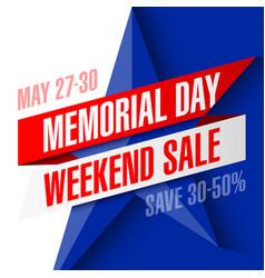 Memorial day weekend sale banner vector