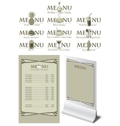 menu table vector image