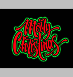 Merry christmas hand lettering with neon outline vector